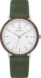 Kerbholz Uhr ''Amelie'' dunkelbraun / oliv / weiß