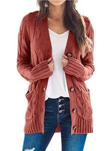 ZIYYOOHY Damen Cable Knit Cardigan Langarm Open Front Button Down Strickpullover Mantel mit Tasche (Ziegelrot, M)