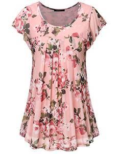 VAFOLY Tunika Oberteil Damen, Sommer Freizeit Trendy Kurzarm Urlaub Clothes für Frauen Plus Größe Locker Shirt Bluse Oberteile Pink XL