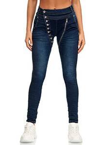 Elara Damen Jeans Boyfriend Baggy Knopfleiste Chunkyrayan EL05D1 Dunkelblau 44 (2XL)