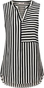 VIVILLI Tunika Damen Lang, Ärmellos Lange Bluse Tunika Oberteile Frauen Büro Kleidsam Vintage mit V Ausschnitt Chiffon Gestreift Shirts Schwarz Weiß L