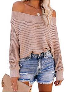 ZIYYOOHY Damen Oversize Pullover Schulterfrei Fledermaus Ärmel Strickpullover Pulli Oberteile Langarmshirt (S, 12007 Pink)