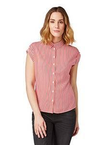 TOM TAILOR Damen Kurzarmbluse Polohemd, Rot (Red Stripe 16138), 38