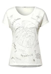 CECIL Damen T-Shirt mit Burnout-Optik in Weiß