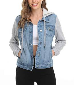 Dilgul Damen Jeansjacke mit Kapuze Frauen Vintage Jean Mantel Übergangs Denim Jacke