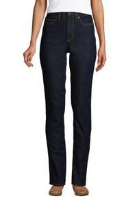 Shaping Jeans, Straight Fit High Waist in Petite-Größe, Damen, Größe: 34 28 Petite, Blau, Denim, by Lands'' End, Tiefes Indigo