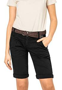 Fresh Made Basic Bermuda-Shorts im Chino Stil mit Gürtel Black S