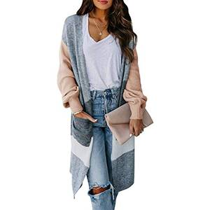 Vertvie Damen Strickjacke Cardigan Langarm Jacke Asymmetrisch Oberteil Open Front Mantel Outwear Strickmantel Sweater Cover Up S-2XL