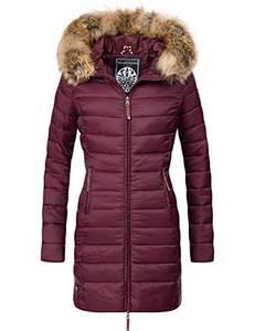 MARIKOO Damen Winter-Mantel Steppmantel Rose Weinrot Gr. S