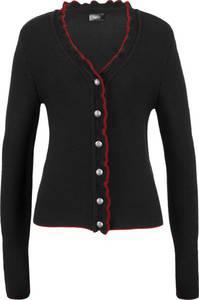 Trachten-Strickjacke mit Rüschen langarm  in schwarz für Damen von bonprix