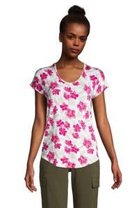 Gemustertes Shirt aus Bambusviskose in Petite-Größe, Damen, Größe: XS Petite, Orange, by Lands'' End, Pfirsich Multi Gestreift