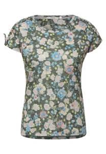 CECIL Damen T-Shirt mit Raffungen in Grün
