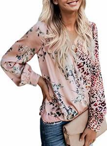 Itsmode Damen Bluse Langarm Leopardenmuster Hemd Elegant Oberteile V-Ausschnitt Casual Top Tunika