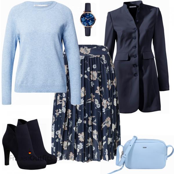 Blauer floraler Businesslook FrauenOutfits.de