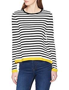 ONLY Damen onlSUZANA L/S KNT NOOS Pullover, Mehrfarbig (Cloud Dancer Stripes: W. Black/Solar Power), 36 (Herstellergröße: S)