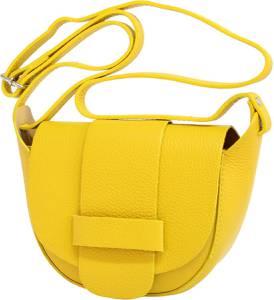 AmbraModa Kleine leren tas, schoudertas, crossbody tas, disco bag GL022 Geel