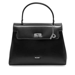 Picard Berlin   edle Kurzgrifftasche   in Zwei verschiedenen Lederarten erhältlich   exlusiver Look   pures Design schwarz (matt, leicht strukturiert)