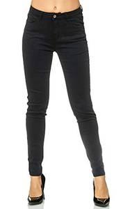 Elara Damen Hose Stretch Skinny Jeans 3 Längen Chunkyrayan EL34 Schwarz 36 (S)
