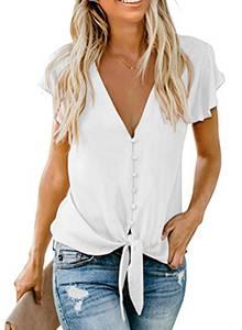 Aleumdr Damen Bluse Kurzarm Hemd V-Ausschnitt Bluse Leinen Tunika mit Konpfen Elegant Krawatte Business Casual Bluse Oberteile Hemd S-XXL (1-Weiß, X-Large)