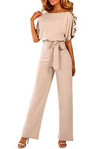 HAPPY SAILED Damen Langarm O-Ausschnitt Elegant Lang Jumpsuit Overall Hosenanzug Playsuit Romper M