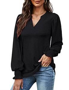 Avoogue Schwarzes T-Shirt Elegant V-Ausschnitt Loose Oberteile Damen Sommer Puff Langarm Basic Blusen & Tuniken Für Damen(Schwarz,M)