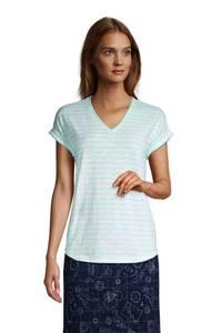 Shirt mit V-Ausschnitt, Damen, Größe: 48-50 Normal, Gelb, Baumwoll-Mischung, by Lands'' End, Pastellgelb