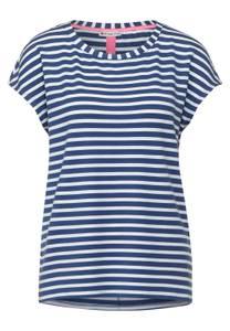 Street One Damen T-Shirt mit Streifen Muster in Blau,Weiß