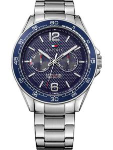 TOMMY HILFIGER Multifunktionsuhr silber / navy