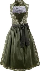 COUNTRY LINE Dirndl midi mit integriertem Petticoat grün / oliv / weiß