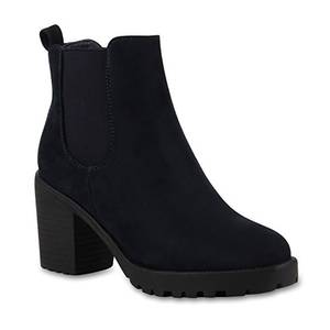 Stylische Damen Boots Stiefeletten Chelsea Boots Knöchelhohe Stiefel Zipper Leder-Optik Booties Schuhe 110404 Marine Blau 37 Flandell