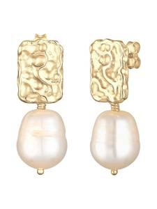 ELLI PREMIUM Organic Perlenohrhänger gold / perlweiß