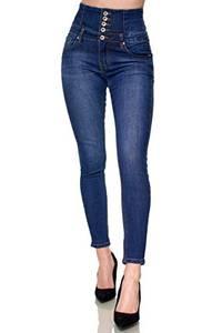 Elara Damen Jeans Stretch Skinny High Waist Chunkyrayan EL60D1 Dunkelblau-40 (L)