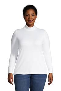 Stehkragen-Shirt in großen Größen, Damen, Größe: 56-58 Plusgrößen, Blau, Jersey, by Lands'' End, Strahlend Marine