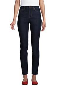 Slim Fit Öko Jeans High Waist, Damen, Größe: XS Normal, Blau, Elasthan, by Lands'' End, Tiefes Indigo