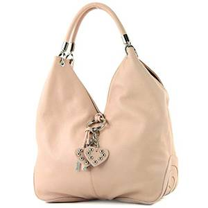 modamoda de - 330 - ital Handtasche Shopper Schultertasche Leder, Farbe:Rosabeige