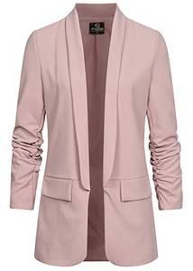 Styleboom Fashion® Damen 3/4 Arm Longform Blazer 2 Deko Taschen Old Rose