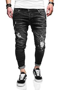 behype. Herren Destroyed Jeans-Hose 80-3496 (32/32, Schwarz)