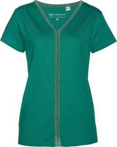 T-Shirt mit Glitzerkante kurzer Arm  in grün für Damen von bonprix