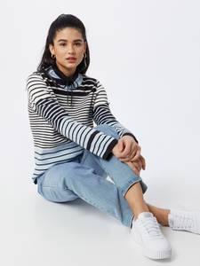 MORE & MORE Pullover weiß / hellblau / nachtblau
