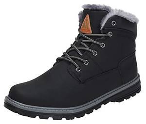 Mishansha Winterstiefel Herren Kurzschaft Stiefel Warm Gefüttert Boots Männer Winterschuhe rutschfest Outdoor Stiefel Schwarz Gr.43 EU