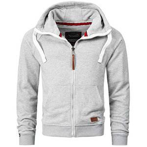 Alessandro Salvarini Herren Sweatjacke Kapuzenpullover Jacke Kapuze Hoodie Sweater AS192 [AS-192-Hellgrau-Gr.M]