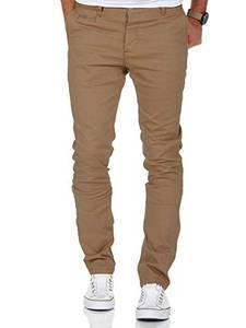 Amaci&Sons Herren Slim Fit Stretch Chino Hose Jeans 7100 Beige W31/L30