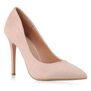 Spitze Damen Pumps High Heels Stilettos Lack Party Schuhe 129355 Rosa 39 Flandell