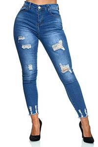 Elara Damen Jeans High Waist Destroyed Chunkyrayan YH 9553 Blau-44 (2XL)