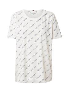 TOMMY HILFIGER Shirt ''TOMMY HILFIGER X ABOUT YOU AOP SCRIPT PRINT T-SHIRT'' beige / navy