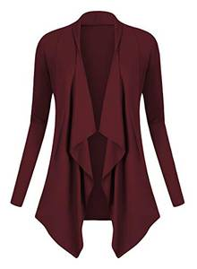 Urban GoCo Damen Strickjacke Cardigan Langarmshirt Wasserfall Strickmantel (S, Windsor Wine)