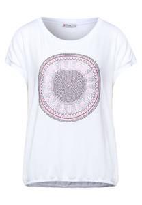 Street One Damen T-Shirt mit Steinchen Deko in Weiß