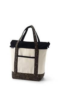 Mittelgroße Canvastasche mit Reißverschluss und gemusterten Griffen