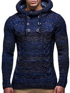 Leif Nelson Herren Strick-Pullover Strick-Pulli mit Kapuze Moderner Winter Woll-Pullover Langarm-Sweatshirt Slim Fit LN20227 Dunkel Blau Medium