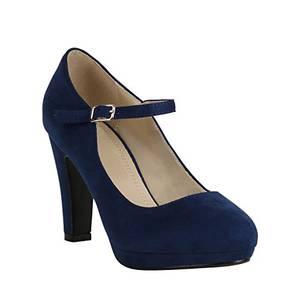 Damen Schuhe Plateau Pumps Lack Spangenpumps High Heels Blockabsatz 157226 Dunkelblau Brito 38 Flandell